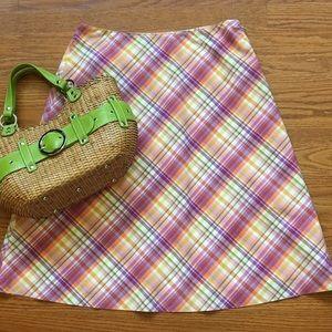 Talbots summer plaid cotton skirt